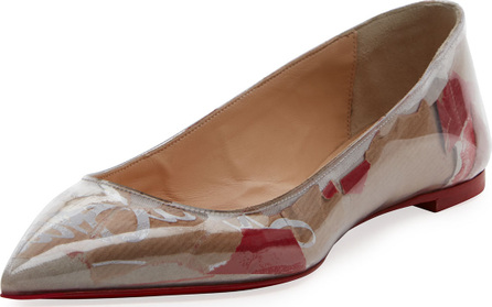 Christian Louboutin Ballalla Paper Collage Red Sole Ballet Flat