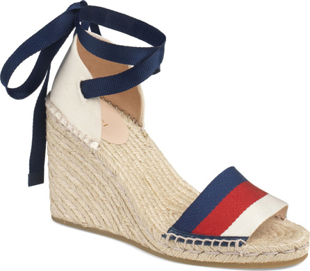 Gucci Sylvie Web Espadrille Wedge Sandal