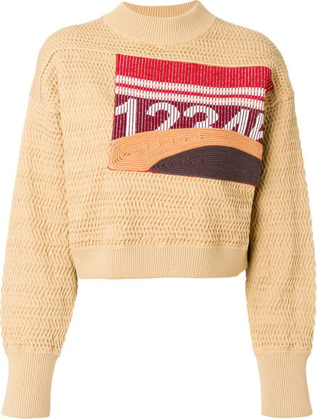 3.1 Phillip Lim Graphic faux-plaited cropped pullover