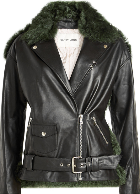 Sandy Liang Leather Jacket with Shearling