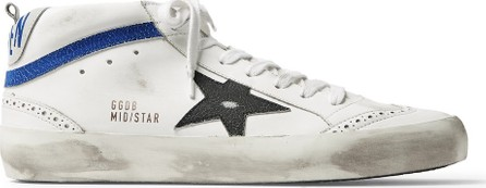 Golden Goose Deluxe Brand Mid Star Distressed Leather and Suede Sneakers