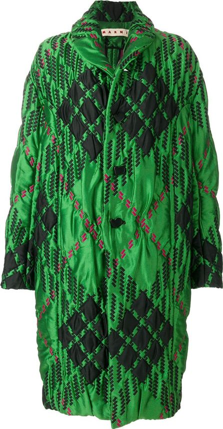 Marni diamond print quilted coat