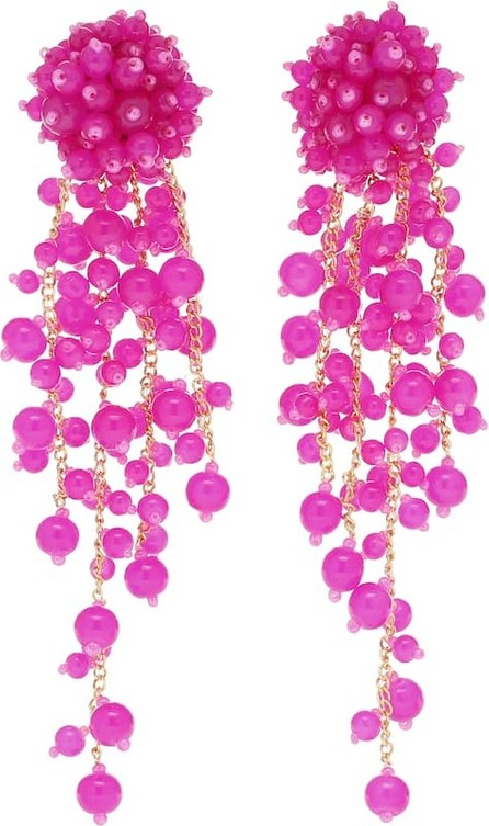 Oscar De La Renta Beaded clip-on drop earrings