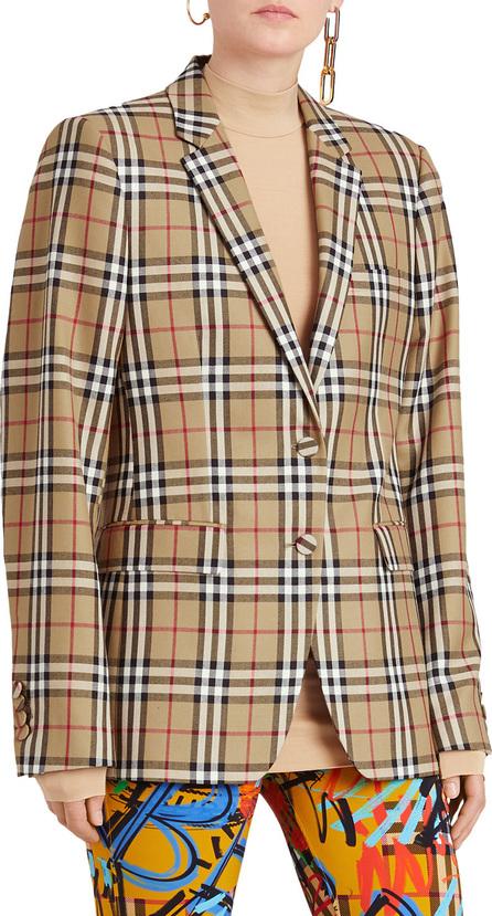 Burberry London England Snowdon Check Wool Two-Button Blazer