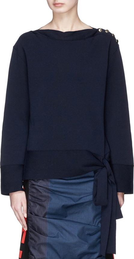 Stella McCartney Button shoulder sash tie extra fine Merino wool sweater