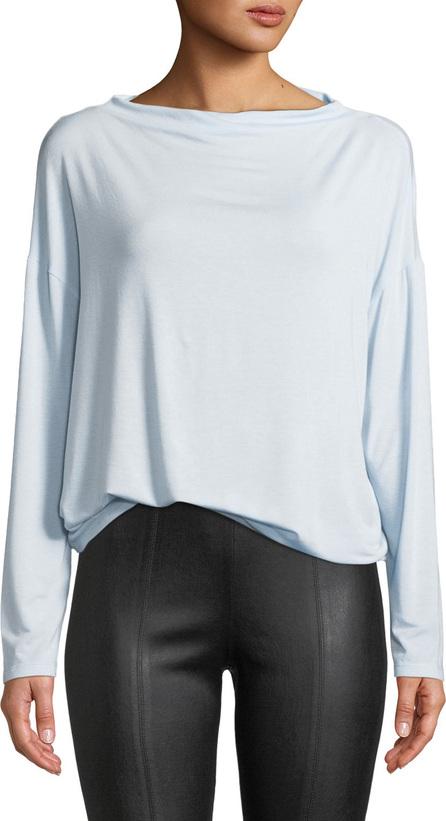 Vince Long-Sleeve Mock Boat-Neck Pullover Top