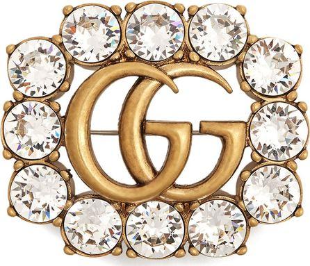 Gucci Crystal-embellished GG brooch