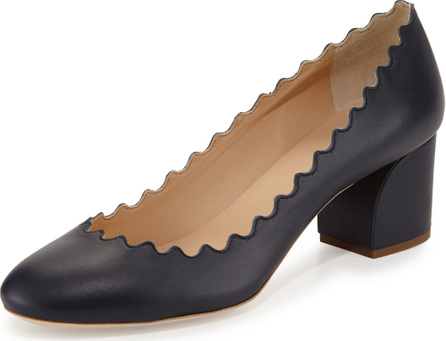 Chloe Scalloped Leather Block-Heel Pump, Navy