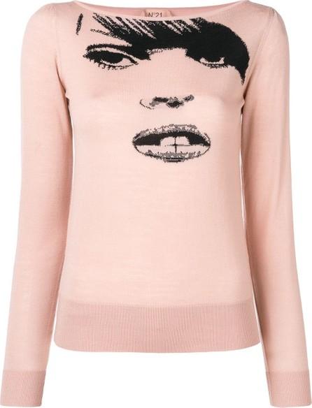 Nº21 Knit face print sweater