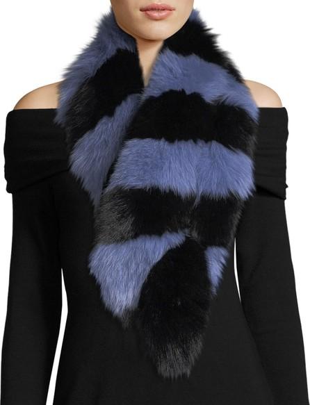 Charlotte Simone Popsicle Fur Scarf, Blue/Black