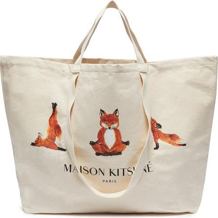 Maison Kitsune Yoga fox print XXL tote bag
