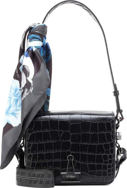 Off White Binder Clip embossed leather shoulder bag