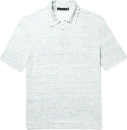 Ermenegildo Zegna Logo-Embroidered Mélange Cotton and Linen-Blend Polo Shirt