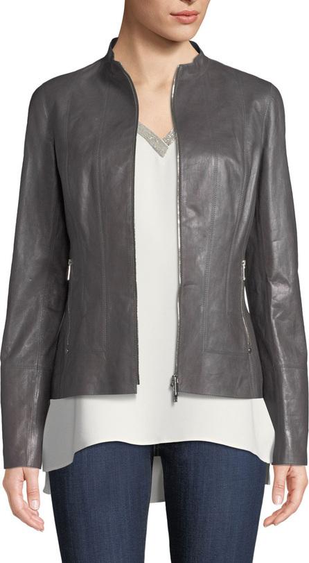 Lafayette 148 New York Sadie Zip-Front Glazed Lightweight Lambskin Leather Jacket
