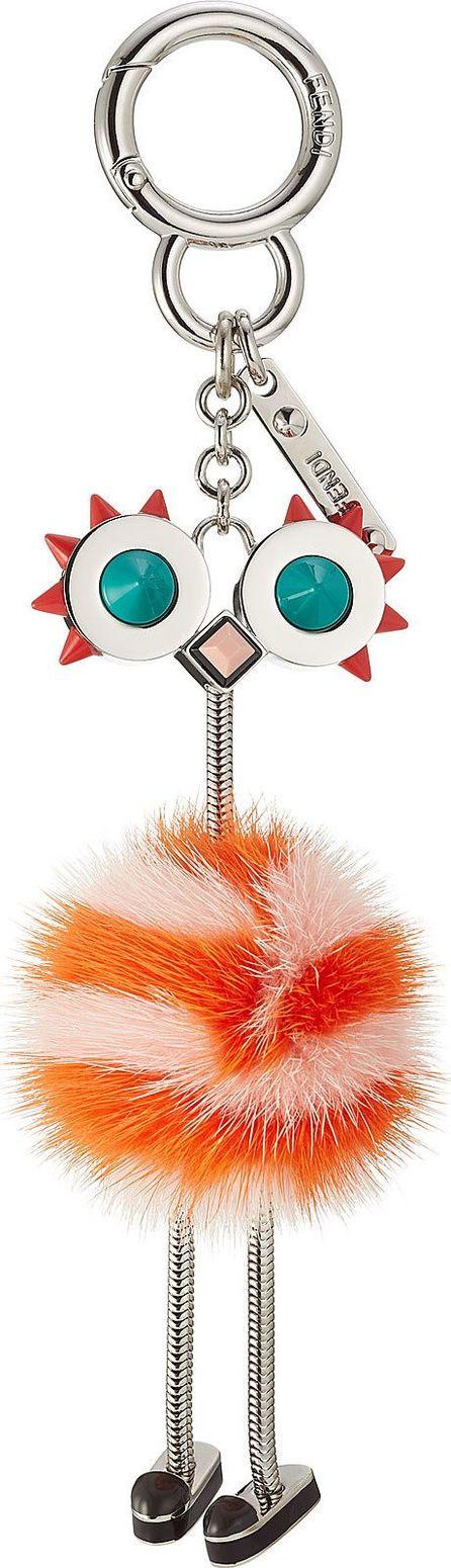 Fendi Bag Bug Key Charm with Fur
