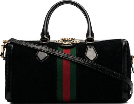 Gucci Black, red and green ophidia medium suede leather bowling bag