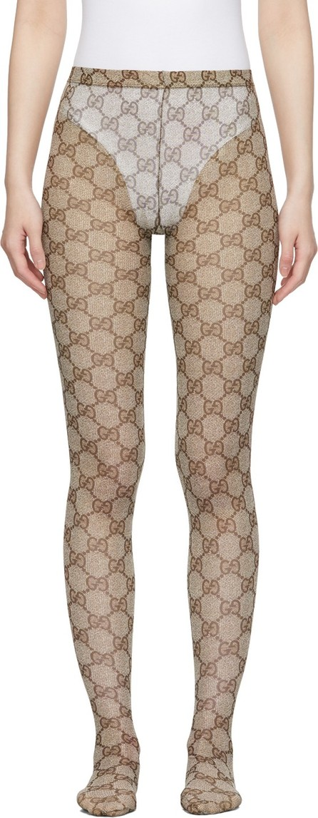 Gucci Beige & Brown GG Tights