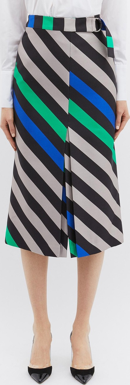Bianca Spender 'Plisse' belted split stripe cotton-silk skirt