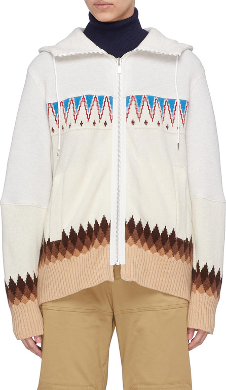 Sacai Graphic intarsia knit panel zip hoodie