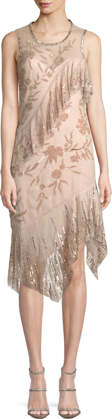 Parker Florence Sleeveless Scoop-Neck A-Line Sequin Beaded Cocktail Dress