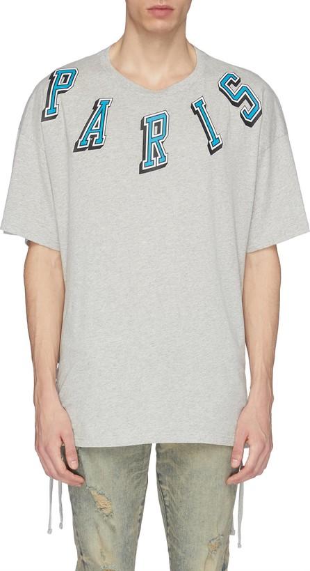 Faith Connexion 'Paris' slogan print lace-up outseam T-shirt