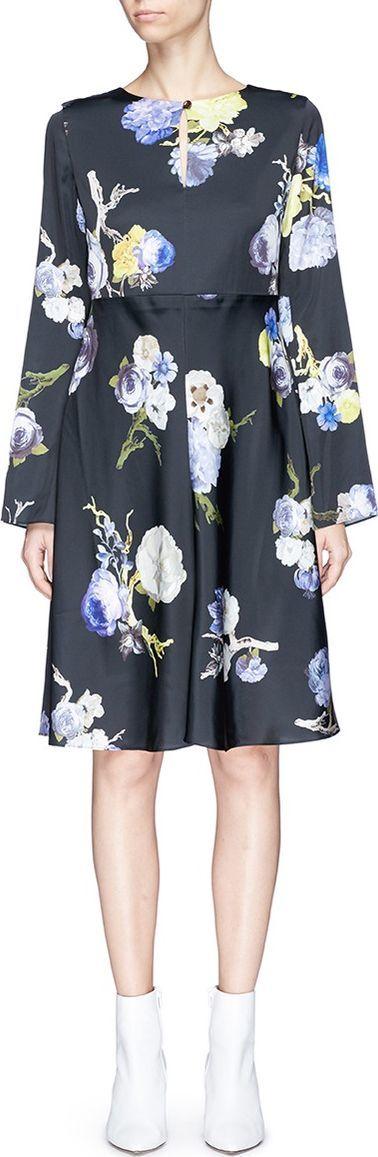 Acne Studios 'Dahari FL' floral print satin dress