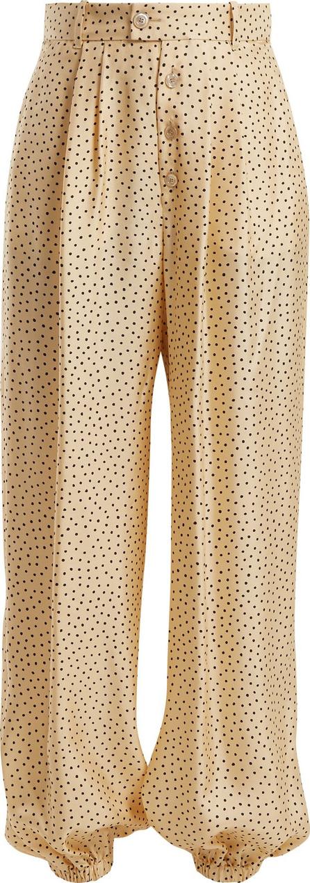 Gucci Mid-rise polka-dot print silk trousers