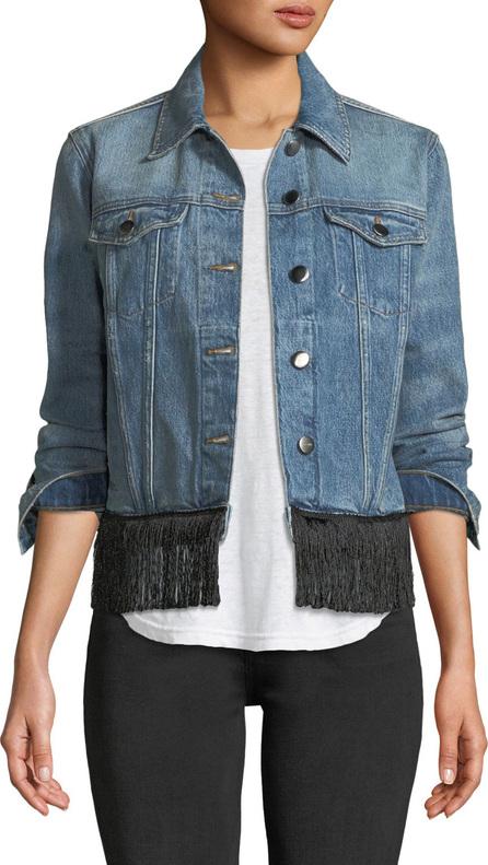 FRAME DENIM Button-Front Denim Jacket w/ Fringe