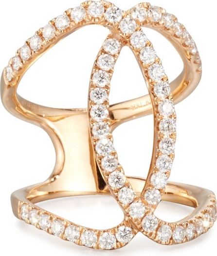 Bessa 18K Rose Gold Overlapping Ring with Diamonds, Size 5.5