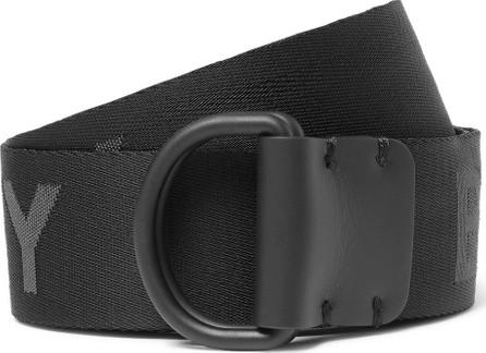 Burberry London England 4cm Black Leather-Trimmed Logo-Jacquard Webbing Belt