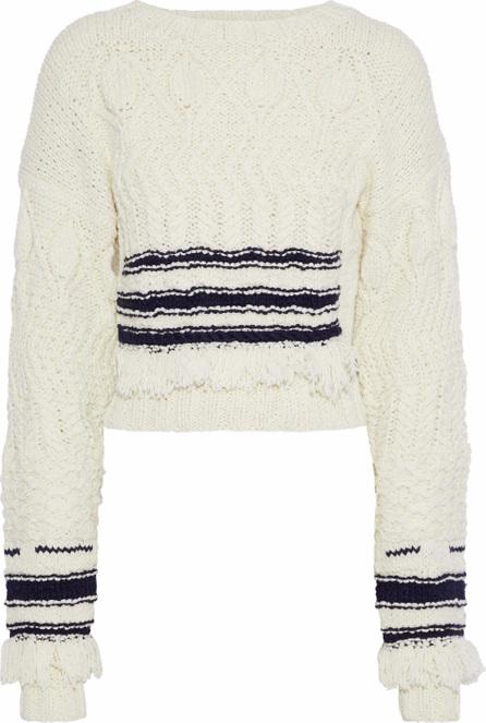 Derek Lam Fringe-trimmed striped wool and silk-blend sweater