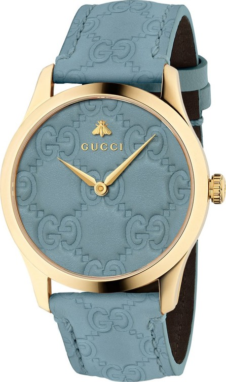 Gucci 38mm G-Timeless Logo Leather Watch, Blue