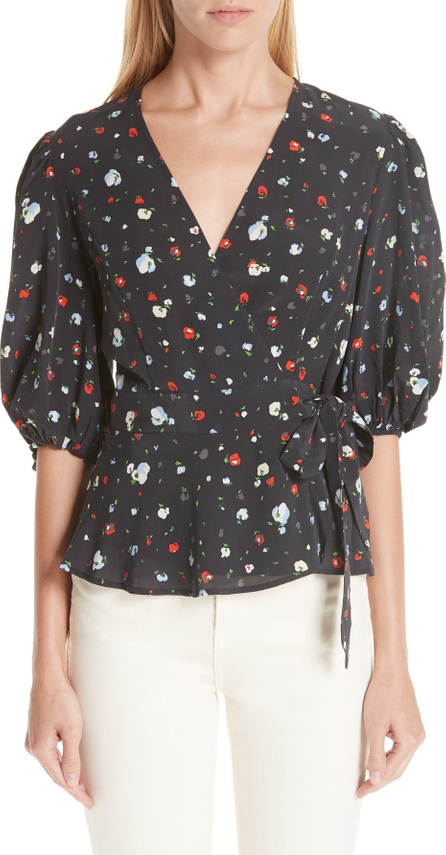 Ganni Floral Silk Wrap Top