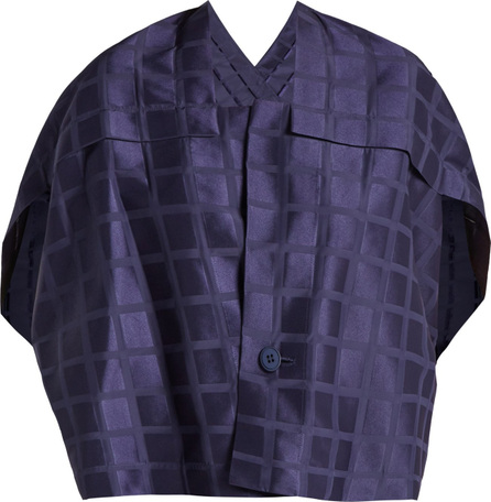 Issey Miyake Square-neck draped-back grid-jacquard jacket