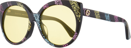 Gucci Glitter Striped Cat-Eye Sunglasses