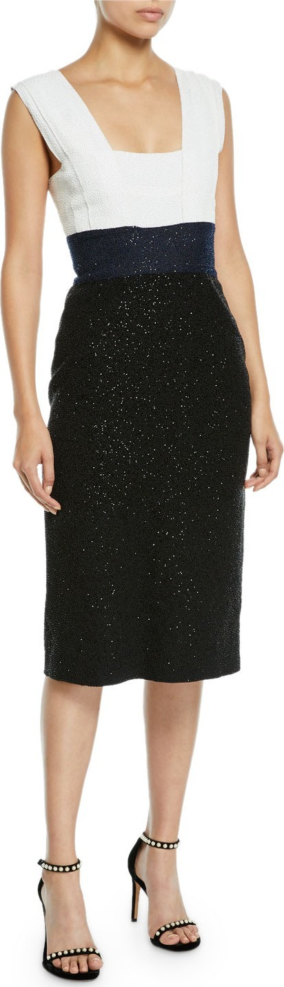 Ahluwalia Lentin Colorblocked Shimmery Square-Neck Cocktail Dress
