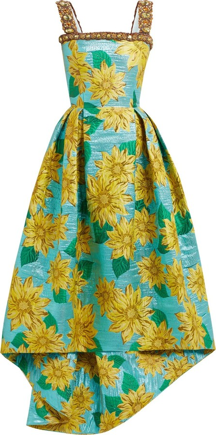 Andrew Gn Crystal-embellished sunflower-brocade gown