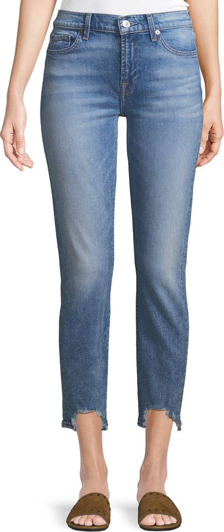 7 For All Mankind Roxanne Frayed Ankle Skinny Jeans with Long Side Hem
