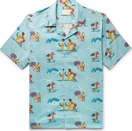 Aimé Leon Dore Block Party Camp-Collar Printed Cotton Shirt