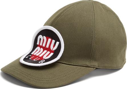 Miu Miu Logo-embroidered patch cotton cap