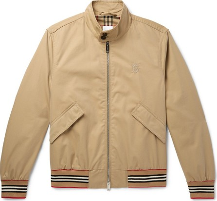 Burberry London England Logo-Embroidered Cotton-Twill Bomber Jacket