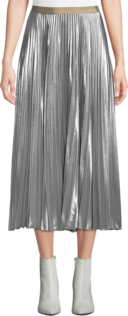 Dries Van Noten Pleated Metallic Midi Skirt