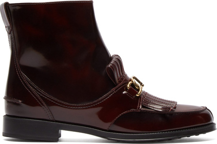 Tod's Gomma fringed patent-leather ankle boots