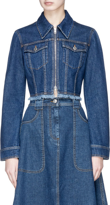 Stella McCartney Fringe hem cropped slim fit denim jacket