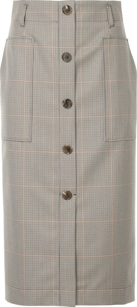 Estnation checked front button pencil skirt