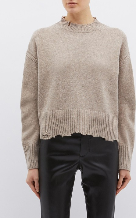 Helmut Lang Distressed wool-cashmere sweater