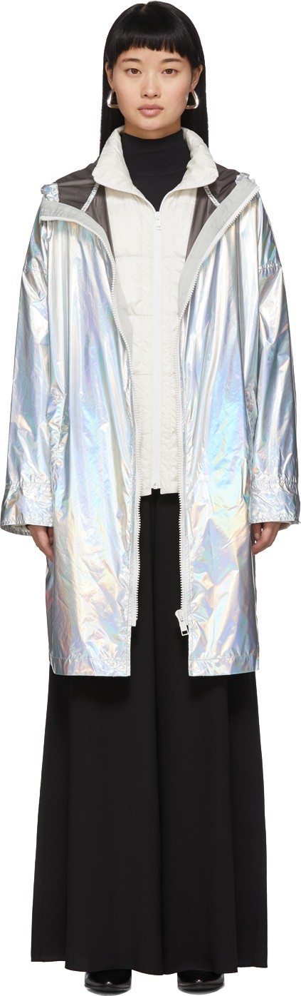 Army By Yves Salomon Silver Down Iridescent Removable Insert Coat