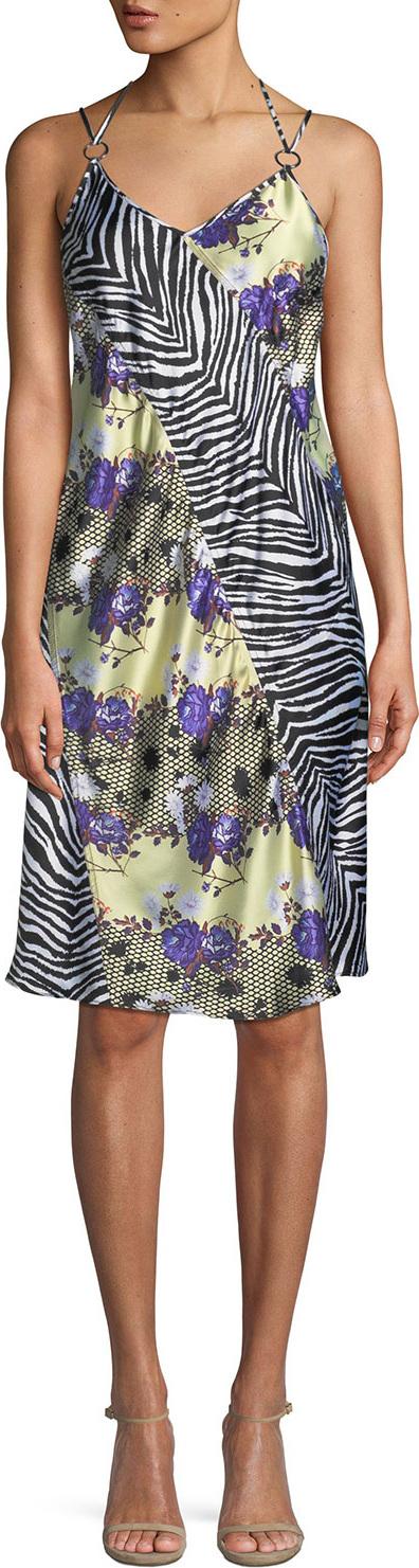 Opening Ceremony Sleeveless Floral Zebra Silk Dress