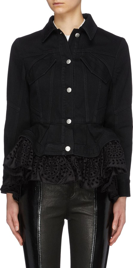 Alexander McQueen Detachable broderie anglaise peplum denim jacket