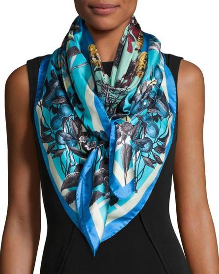 St. Piece Francesca Floral Silk Twill Scarf, Blue
